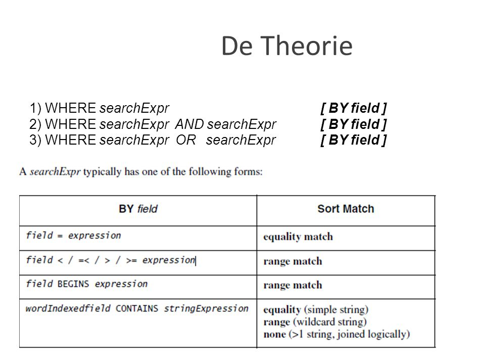 De Theorie 1) WHERE searchExpr [ BY field ]